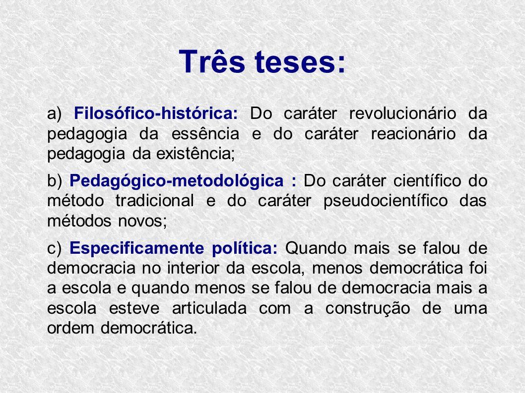Três teses:a) Filosófico-histórica: Do caráter revolucionário da pedagogia da essência e do caráter reacionário da pedagogia da existência;