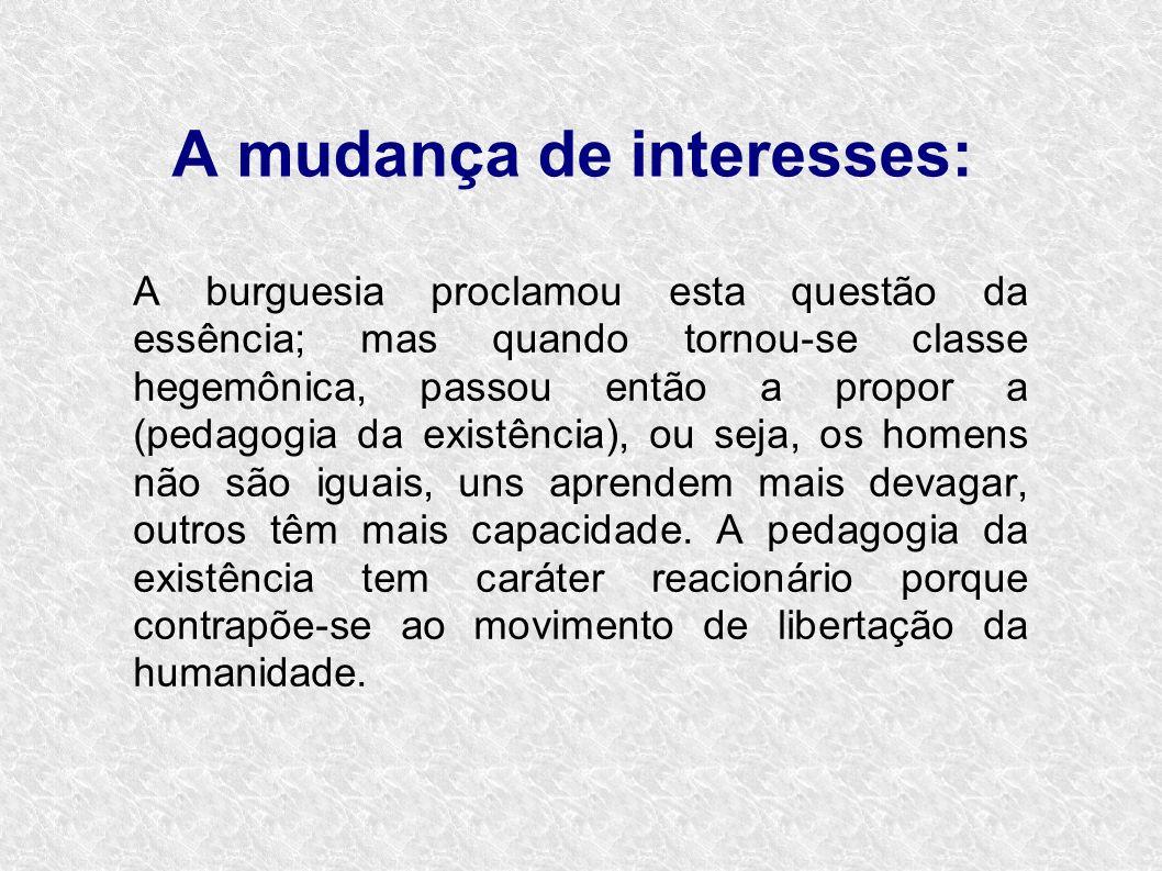 A mudança de interesses: