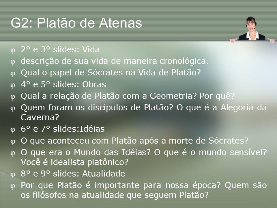 G2: Platão de Atenas 2° e 3° slides: Vida