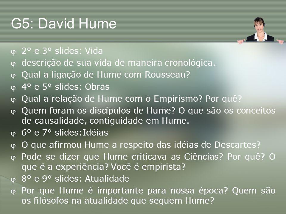 G5: David Hume 2° e 3° slides: Vida