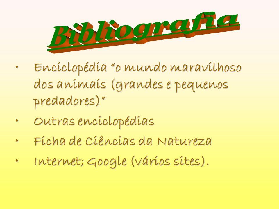 Bibliografia Enciclopédia o mundo maravilhoso dos animais (grandes e pequenos predadores) Outras enciclopédias.