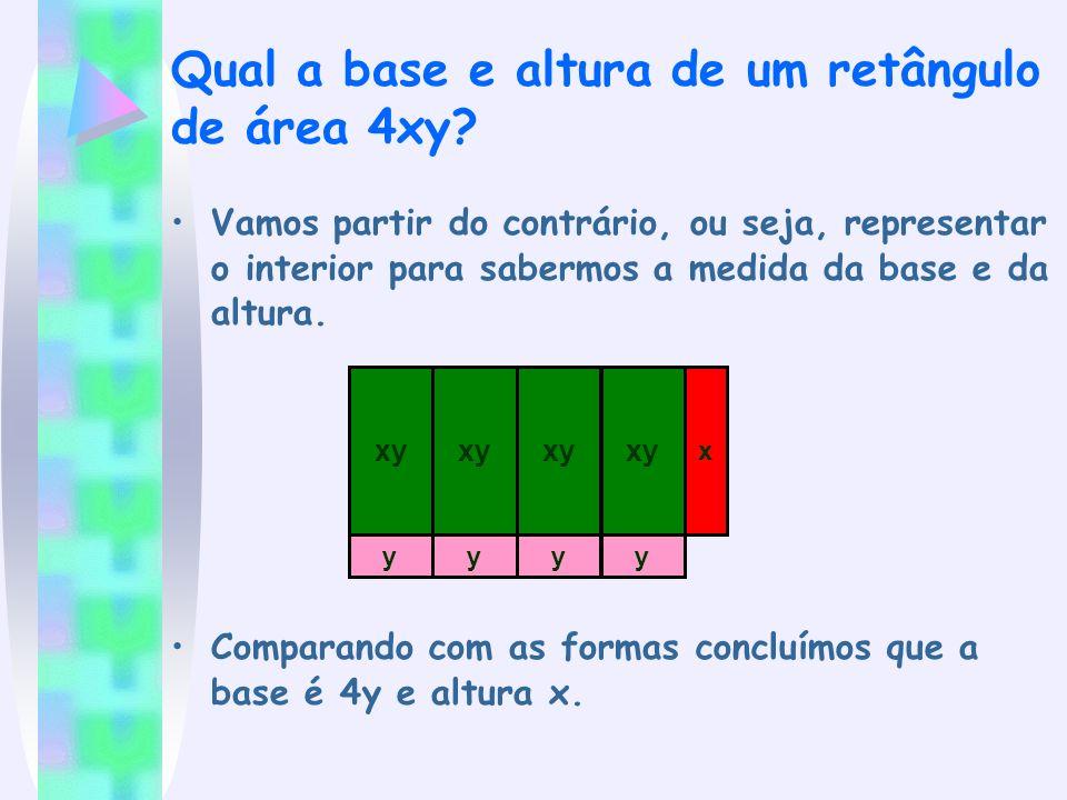 Qual a base e altura de um retângulo de área 4xy