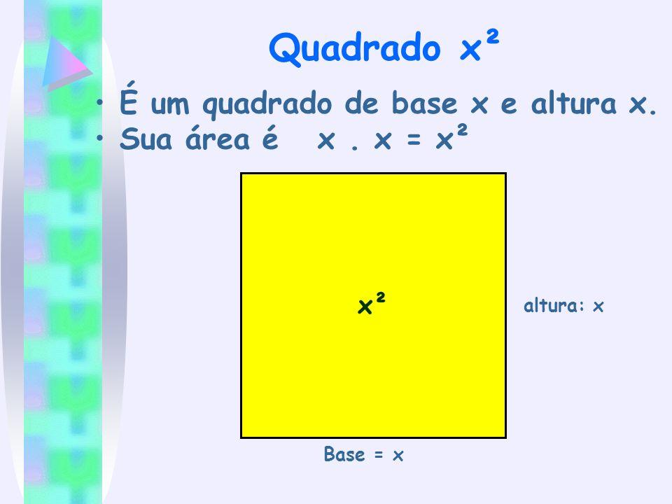 Quadrado x² É um quadrado de base x e altura x. Sua área é x . x = x²