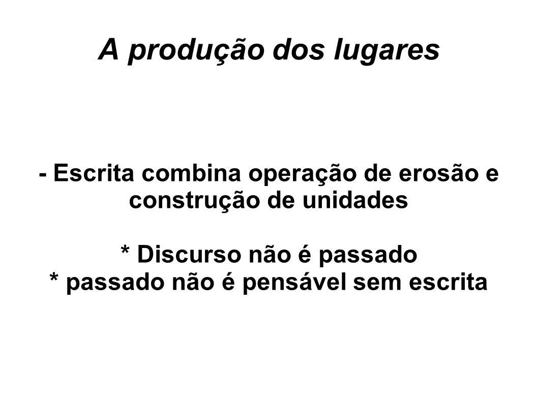A produção dos lugares - Escrita combina operação de erosão e construção de unidades. * Discurso não é passado.