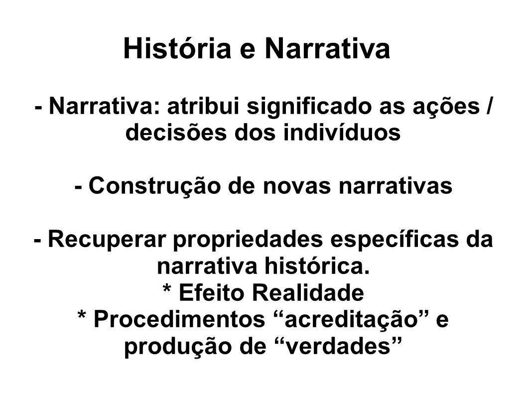 História e Narrativa - Narrativa: atribui significado as ações / decisões dos indivíduos. - Construção de novas narrativas.