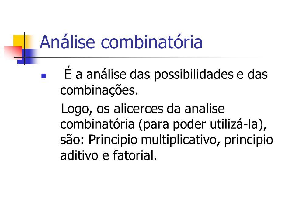 Análise combinatória É a análise das possibilidades e das combinações.