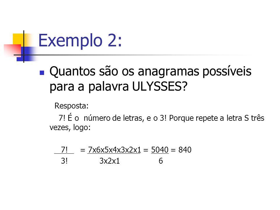 Exemplo 2: Quantos são os anagramas possíveis para a palavra ULYSSES