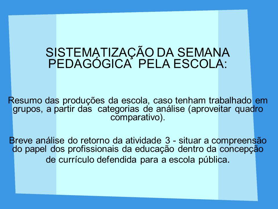 SISTEMATIZAÇÃO DA SEMANA PEDAGÓGICA PELA ESCOLA: