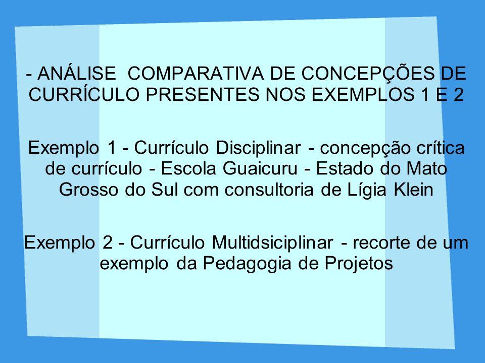 - ANÁLISE COMPARATIVA DE CONCEPÇÕES DE CURRÍCULO PRESENTES NOS EXEMPLOS 1 E 2