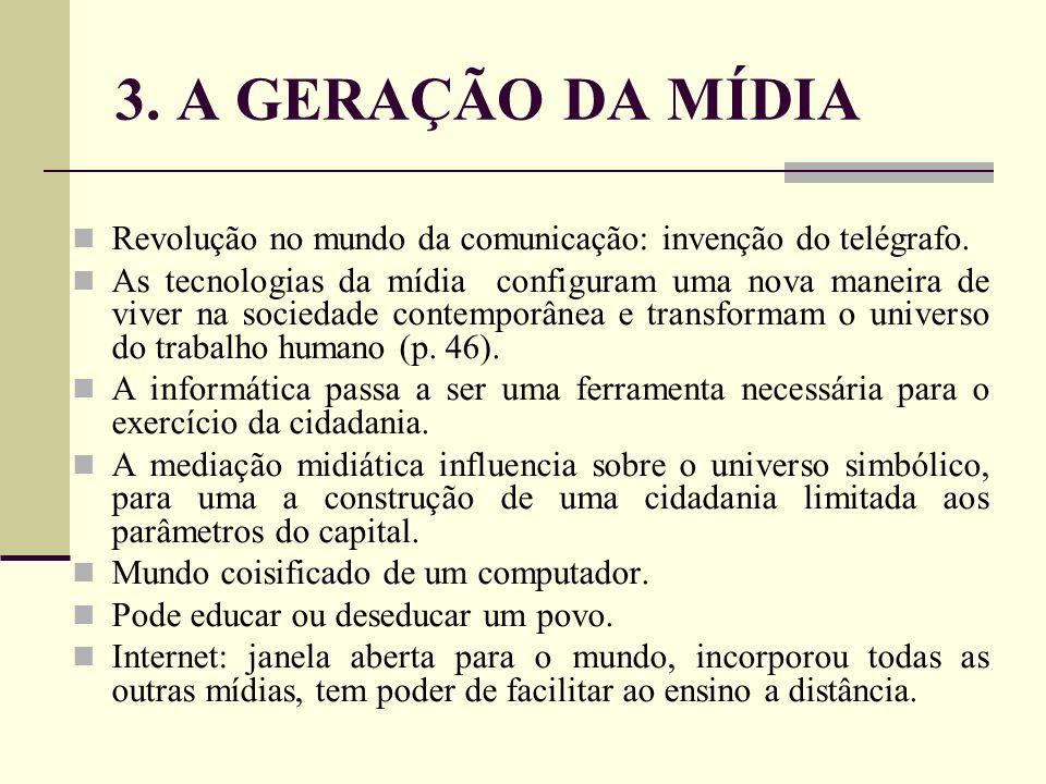 3. A GERAÇÃO DA MÍDIA Revolução no mundo da comunicação: invenção do telégrafo.