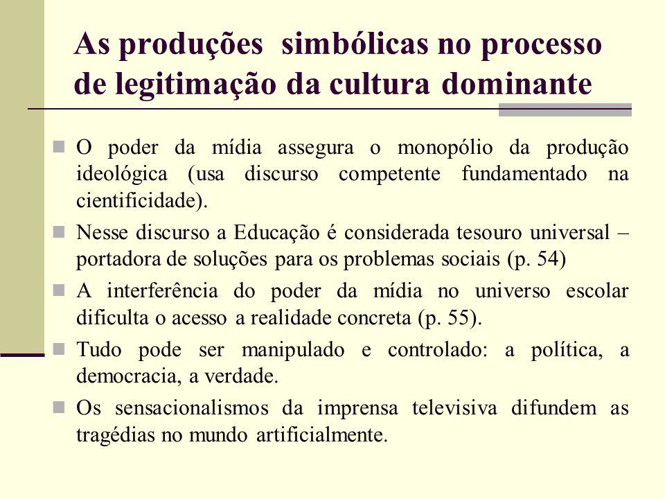 As produções simbólicas no processo de legitimação da cultura dominante
