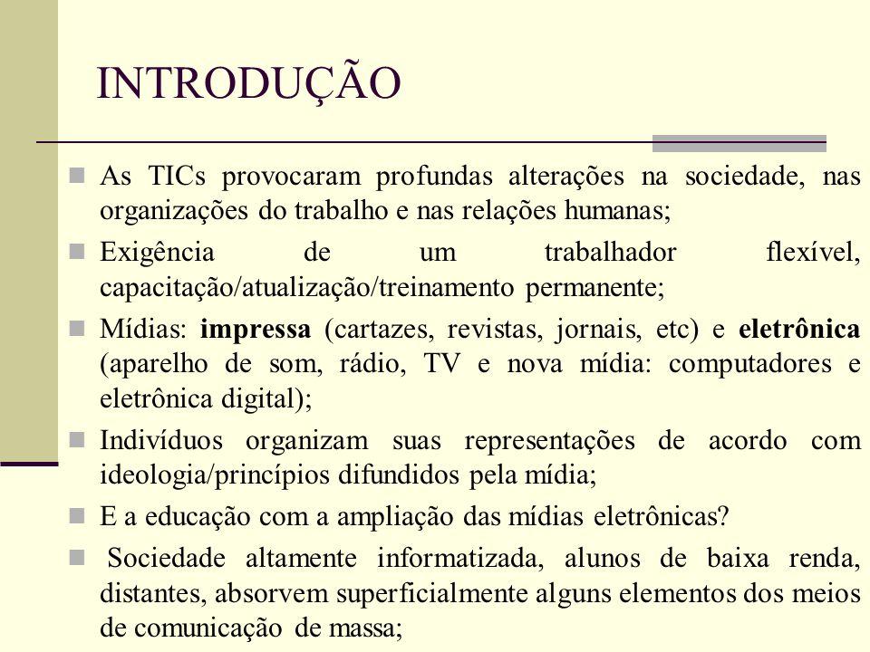 INTRODUÇÃO As TICs provocaram profundas alterações na sociedade, nas organizações do trabalho e nas relações humanas;