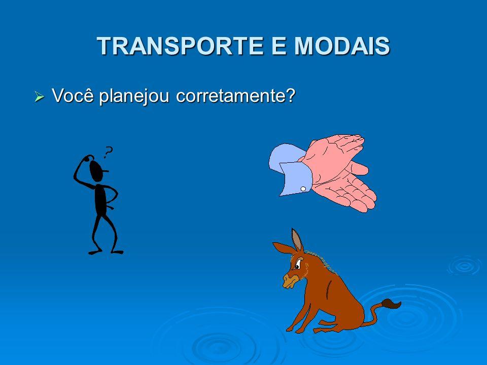 TRANSPORTE E MODAIS Você planejou corretamente