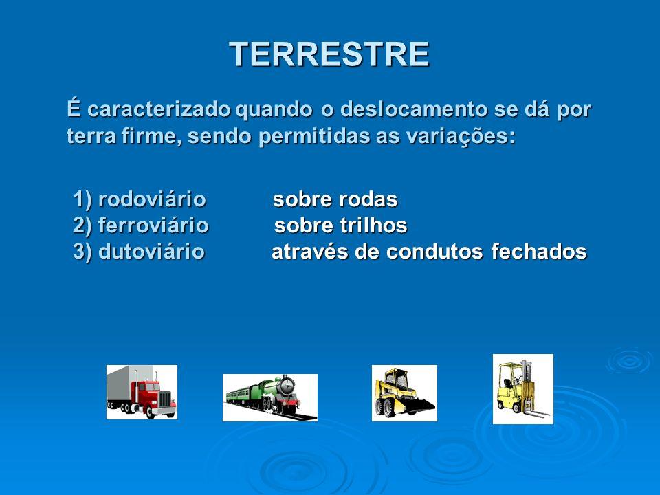 TERRESTRE É caracterizado quando o deslocamento se dá por terra firme, sendo permitidas as variações: