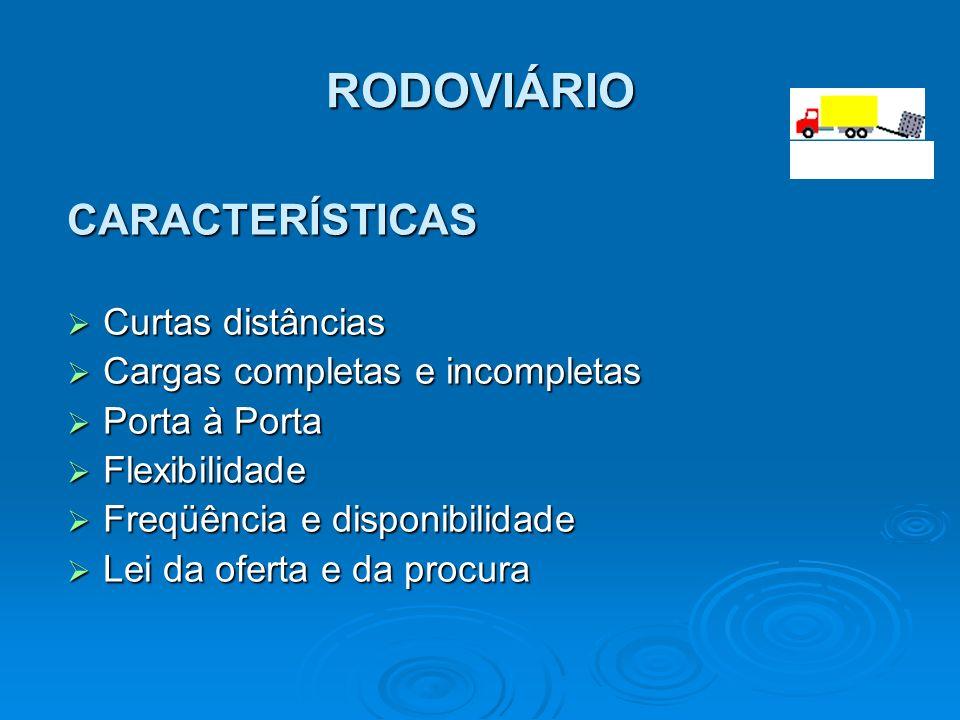 RODOVIÁRIO CARACTERÍSTICAS Curtas distâncias