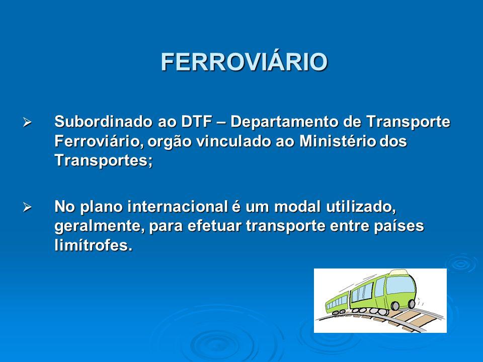 FERROVIÁRIO Subordinado ao DTF – Departamento de Transporte Ferroviário, orgão vinculado ao Ministério dos Transportes;