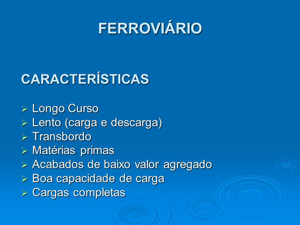 FERROVIÁRIO CARACTERÍSTICAS Longo Curso Lento (carga e descarga)