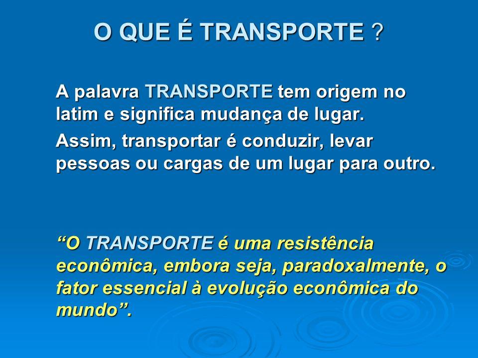 O QUE É TRANSPORTE A palavra TRANSPORTE tem origem no latim e significa mudança de lugar.