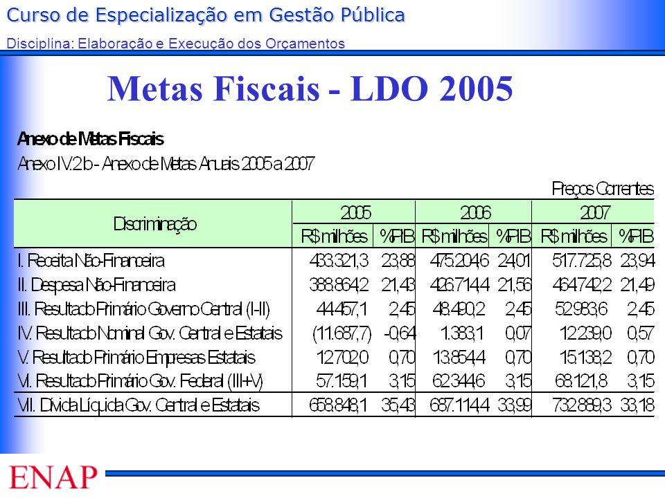 Metas Fiscais - LDO 2005