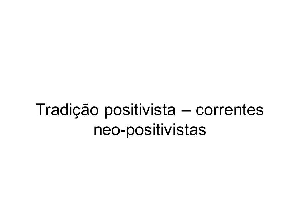 Tradição positivista – correntes neo-positivistas