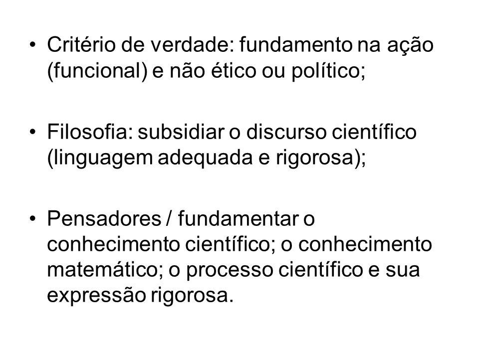 Critério de verdade: fundamento na ação (funcional) e não ético ou político;
