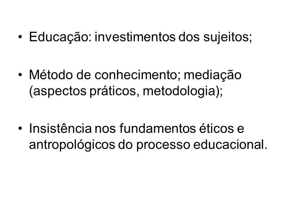 Educação: investimentos dos sujeitos;
