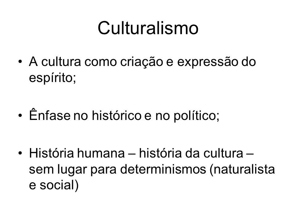 Culturalismo A cultura como criação e expressão do espírito;