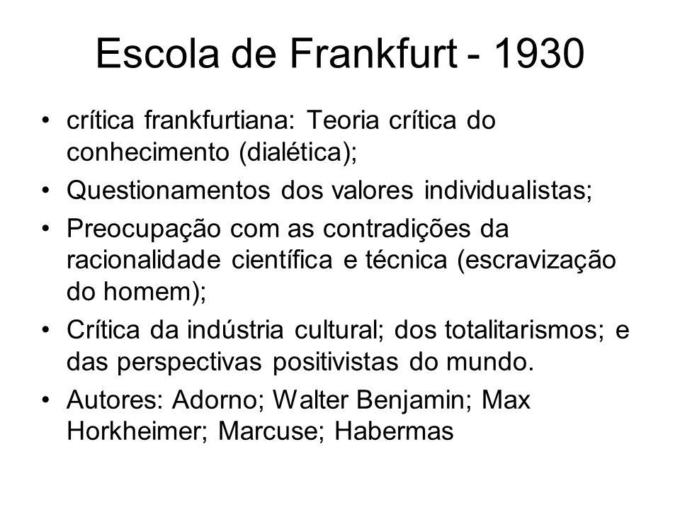 Escola de Frankfurt - 1930 crítica frankfurtiana: Teoria crítica do conhecimento (dialética); Questionamentos dos valores individualistas;