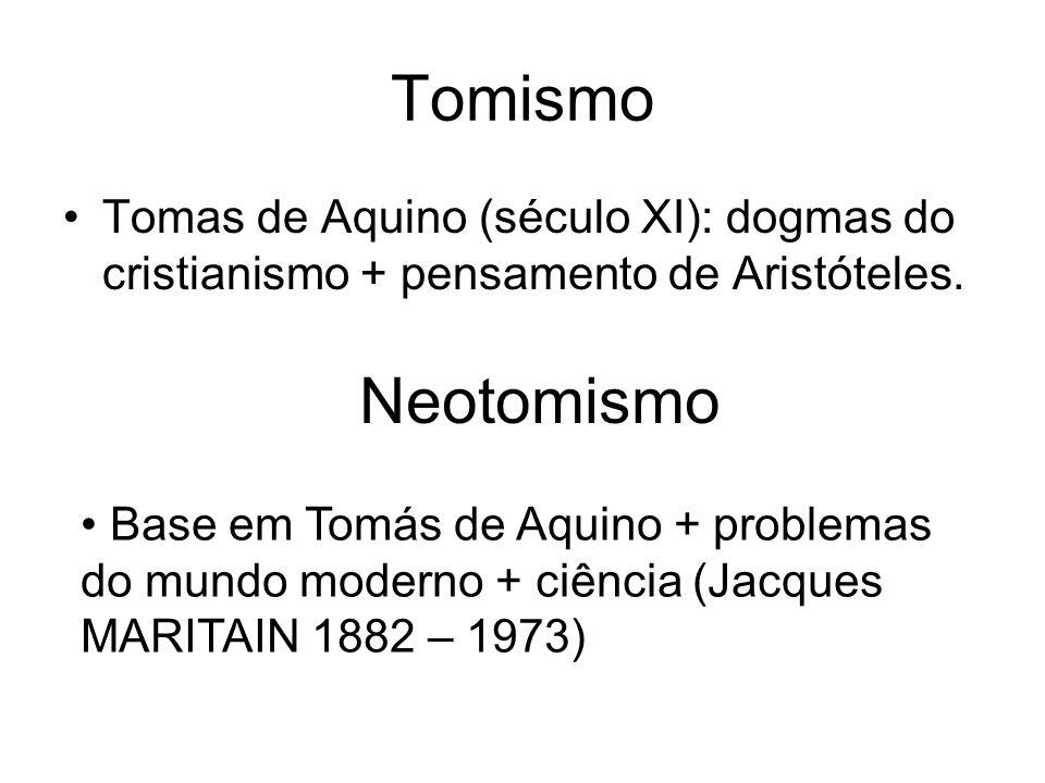 Tomismo Tomas de Aquino (século XI): dogmas do cristianismo + pensamento de Aristóteles. Neotomismo.