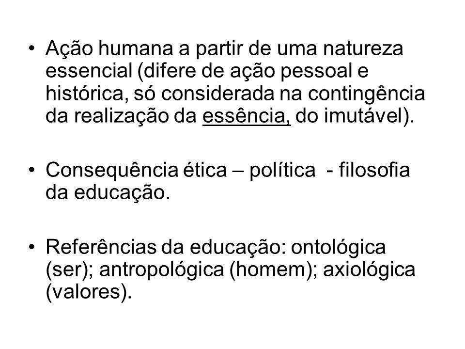 Ação humana a partir de uma natureza essencial (difere de ação pessoal e histórica, só considerada na contingência da realização da essência, do imutável).