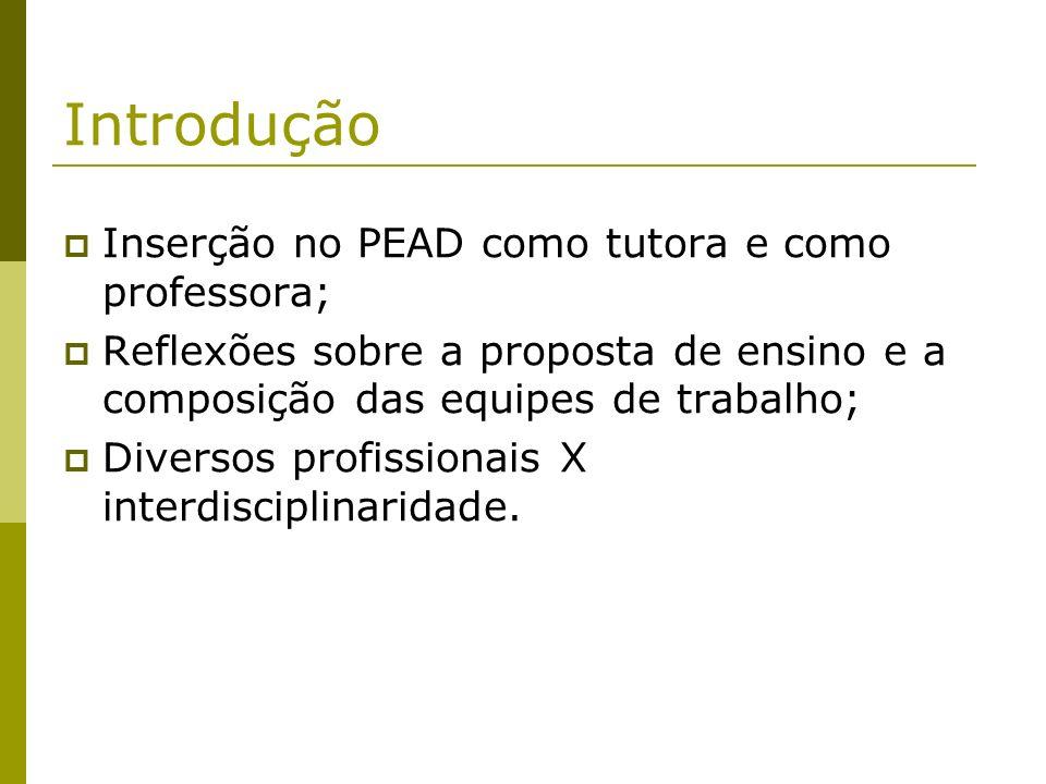 Introdução Inserção no PEAD como tutora e como professora;
