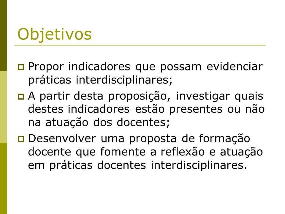 Objetivos Propor indicadores que possam evidenciar práticas interdisciplinares;