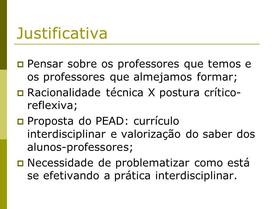 JustificativaPensar sobre os professores que temos e os professores que almejamos formar; Racionalidade técnica X postura crítico-reflexiva;