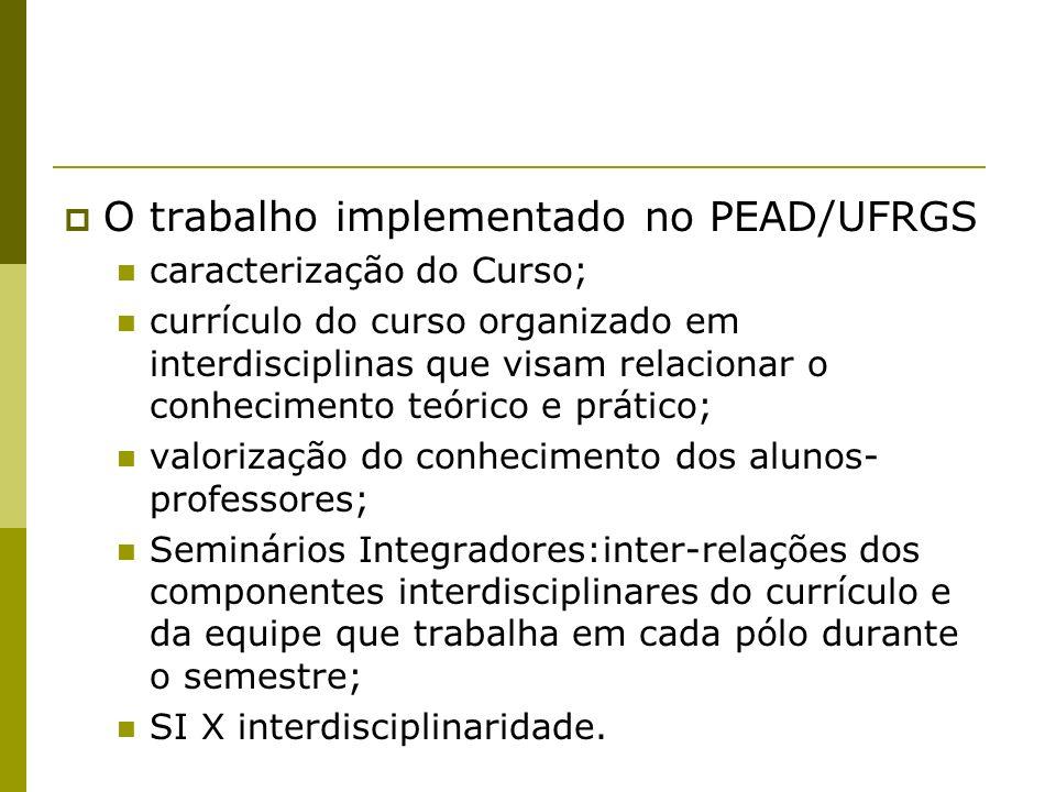 O trabalho implementado no PEAD/UFRGS