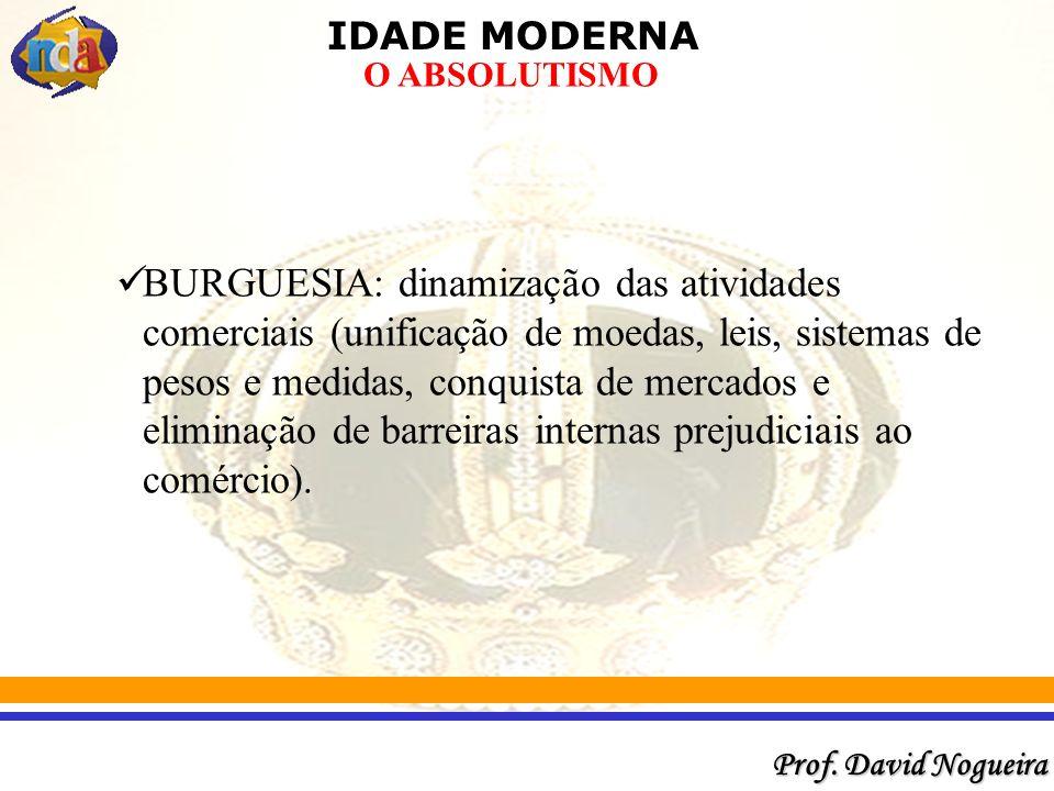 BURGUESIA: dinamização das atividades comerciais (unificação de moedas, leis, sistemas de pesos e medidas, conquista de mercados e eliminação de barreiras internas prejudiciais ao comércio).