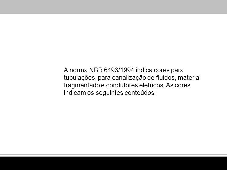 A norma NBR 6493/1994 indica cores para tubulações, para canalização de fluidos, material fragmentado e condutores elétricos.