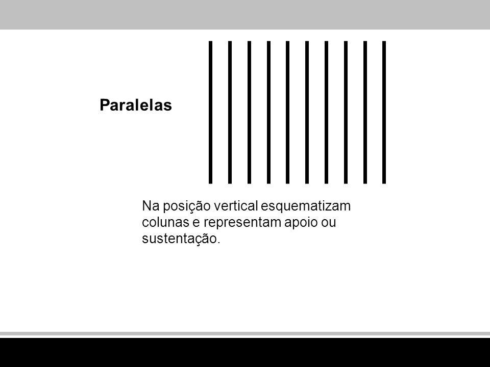 Paralelas Na posição vertical esquematizam colunas e representam apoio ou sustentação.