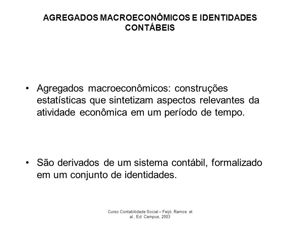 AGREGADOS MACROECONÔMICOS E IDENTIDADES CONTÁBEIS