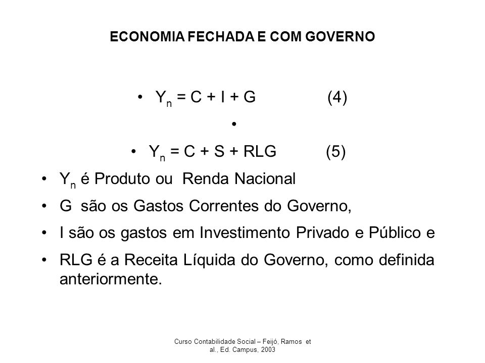 ECONOMIA FECHADA E COM GOVERNO