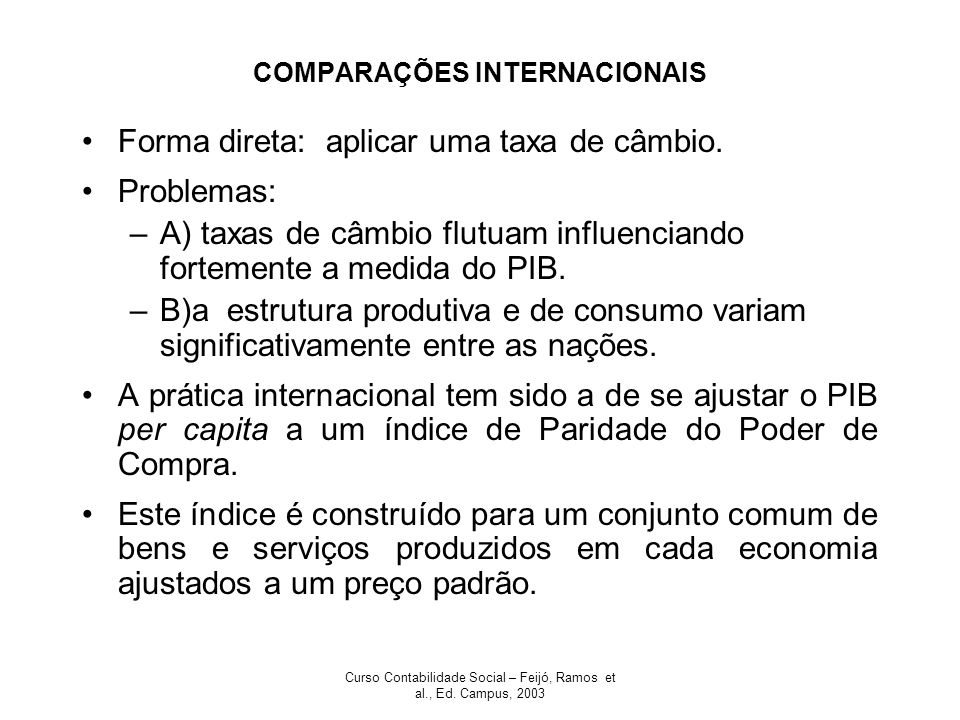 COMPARAÇÕES INTERNACIONAIS