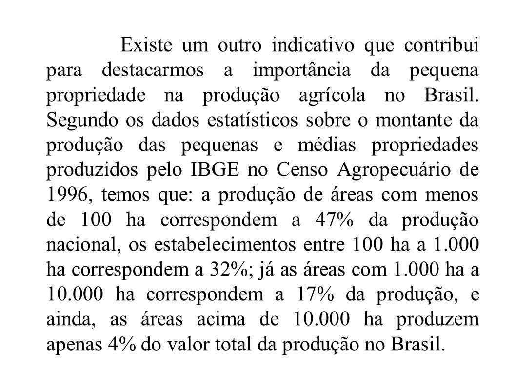 Existe um outro indicativo que contribui para destacarmos a importância da pequena propriedade na produção agrícola no Brasil.