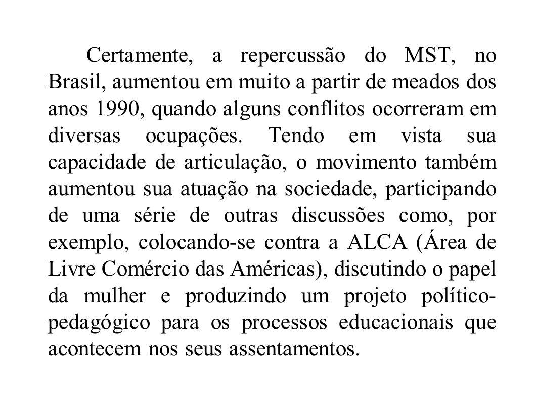 Certamente, a repercussão do MST, no Brasil, aumentou em muito a partir de meados dos anos 1990, quando alguns conflitos ocorreram em diversas ocupações.
