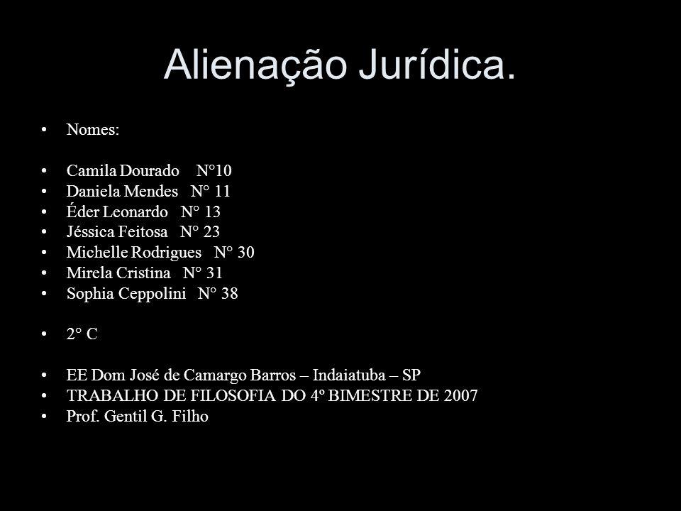 Alienação Jurídica. Nomes: Camila Dourado N°10 Daniela Mendes N° 11