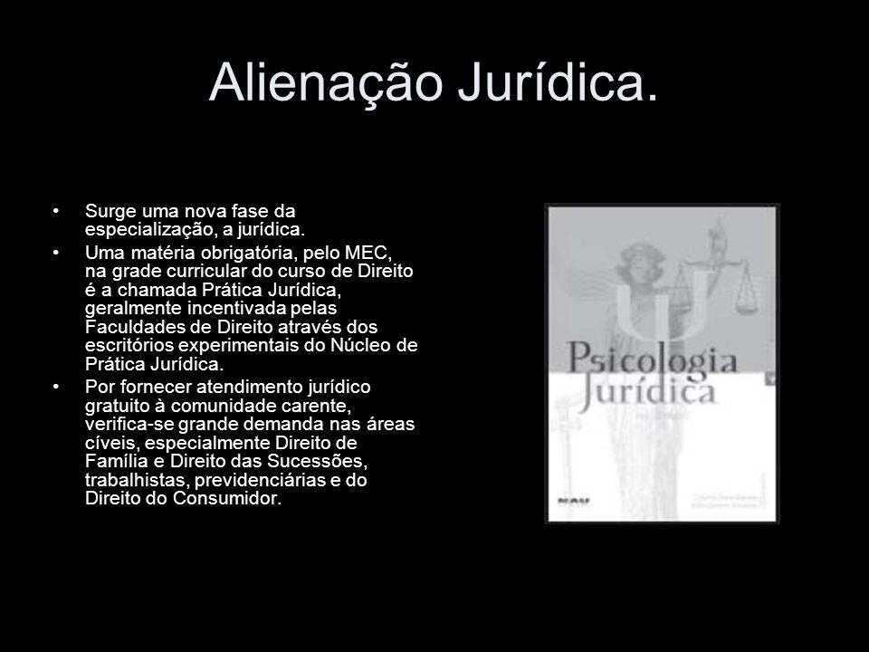 Alienação Jurídica. Surge uma nova fase da especialização, a jurídica.