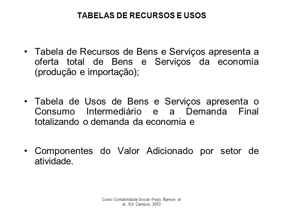TABELAS DE RECURSOS E USOS