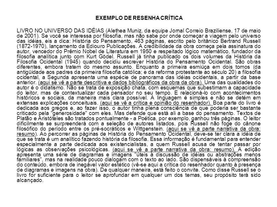 EXEMPLO DE RESENHA CRÍTICA