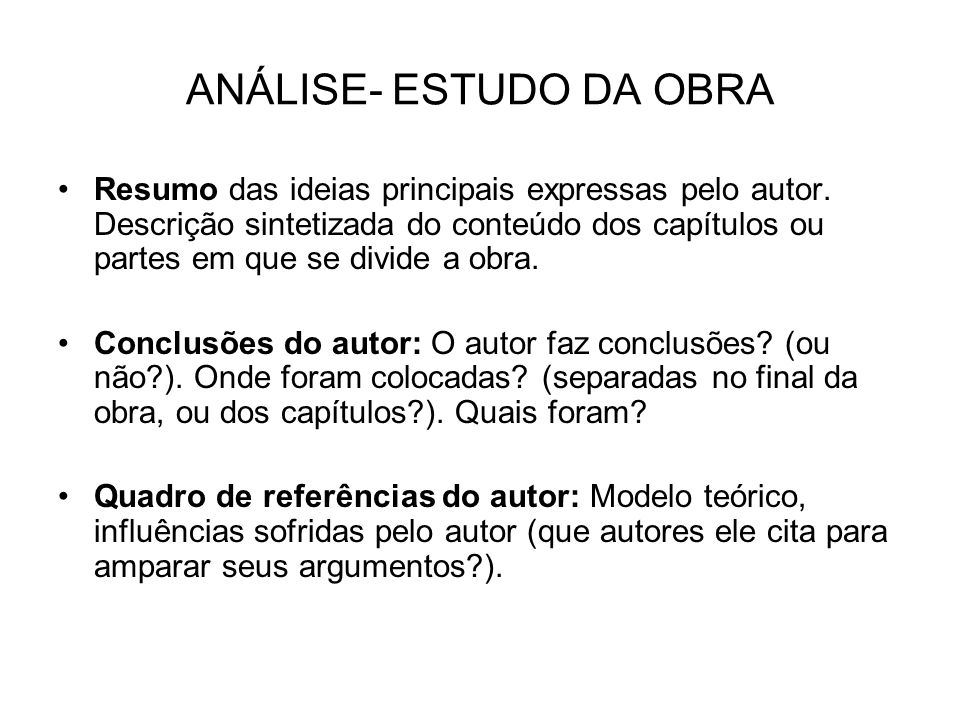 ANÁLISE- ESTUDO DA OBRA