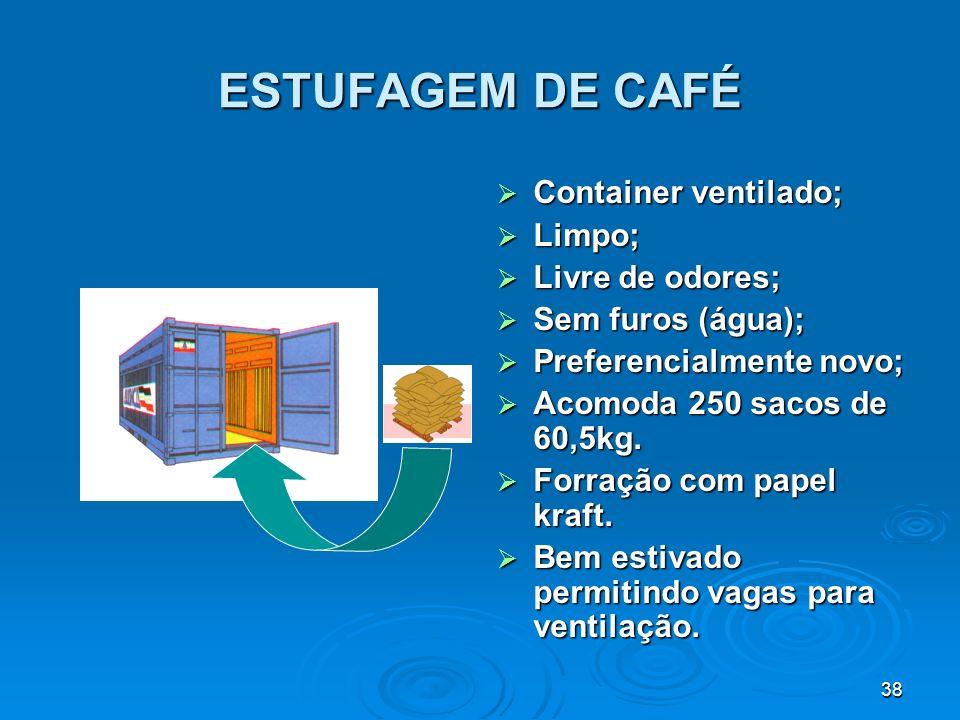 ESTUFAGEM DE CAFÉ Container ventilado; Limpo; Livre de odores;