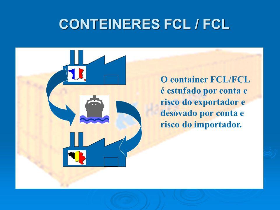 CONTEINERES FCL / FCLO container FCL/FCL é estufado por conta e risco do exportador e desovado por conta e risco do importador.
