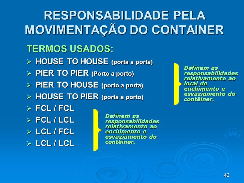 RESPONSABILIDADE PELA MOVIMENTAÇÃO DO CONTAINER